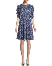 Ralph Lauren Collection - Laverne Elbow-sleeve Floral-print Silk Dress - Lyst