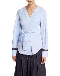 Brunello Cucinelli - Long-sleeve Chambray Wrap-front Top - Lyst
