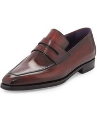 Berluti Andy Burnished Leather Loafers - Red