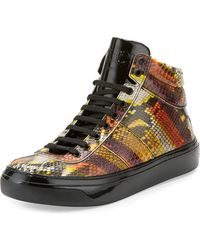 Jimmy Choo - Belgravia Men's Python & Patent Leather High-top Sneaker - Lyst