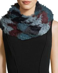 Jocelyn - Chevron Long-hair Rabbit Fur Knit Infinity Scarf - Lyst