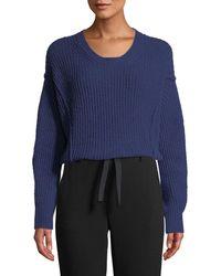 Vince - Paneled Crewneck Wool-blend Sweater - Lyst