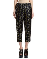 Marni Floral Brocade Cropped Pajama Pants - Black