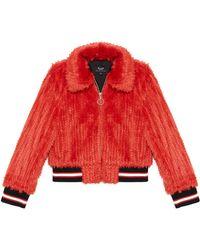 Bardot Queenie Faux-fur Bomber Jacket - Red