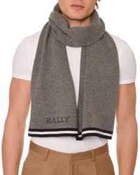 Bally - Men's Contrast-trim Wool Scarf With Logo - Lyst