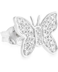 Sydney Evan - Mini Butterfly Stud Earring With Diamonds - Lyst