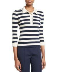 Loro Piana - 3/4-sleeve Striped Cashmere-silk Polo Top - Lyst