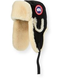 Canada Goose Aviator Hat With Shearling - Black