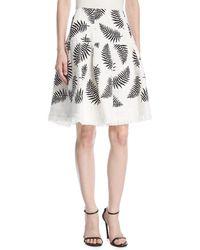 Oscar de la Renta - Leaf-embroidered Party Skirt - Lyst