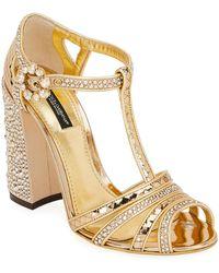 Dolce & Gabbana T-strap Glitter Metallic Sandals