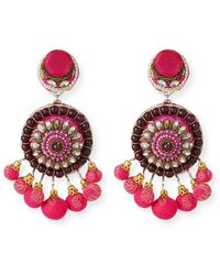 Ranjana Khan Beaded Circle Clip-on Earrings W/ Mini Poms - Multicolour