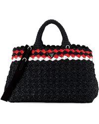 Prada - All Designer Products - Crocheted Raffia Top-handle Bag W/strap - Lyst