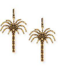 Auden Palm Tree Drop Earrings - Metallic