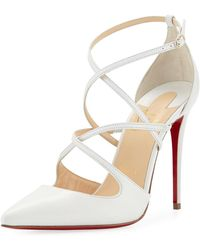 2c51cdc80c7 Christian Louboutin Aketata Patent Ankle-wrap Red Sole Pump in Pink ...