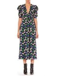 Carolina Herrera - V-neck Pouf-sleeve Wildcat Print Georgette Dress - Lyst