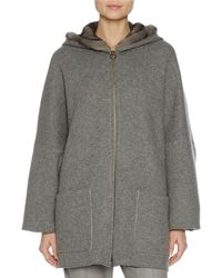 Agnona - Zip-front Mink Fur-lined Hoodie - Lyst