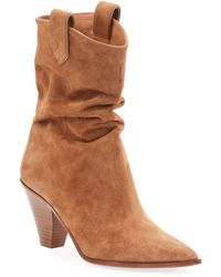 Aquazzura Boogie Cowboy Slouchy Suede Booties - Brown