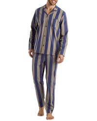 Hanro Men's Night & Day Striped Cotton Pyjama Set - Blue