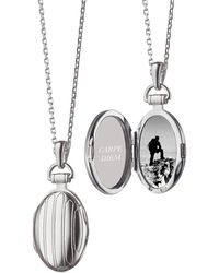 Monica Rich Kosann - Sterling Silver Petite Pinstripe Locket - Lyst
