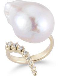 Mizuki - Curved Baroque Pearl & Diamond Ring In 14k Gold - Lyst