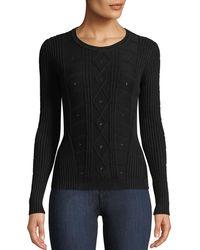 Tomas Maier - Crewneck Long-sleeve Cable-knit Sweater W/ Grommet Trim - Lyst
