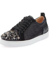 Christian Louboutin Men's Louis Junior Spike Low-top Sneakers - Black