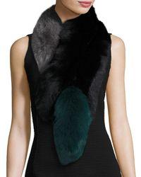 Charlotte Simone Popsicle Fox Fur Colorblock Scarf - Black