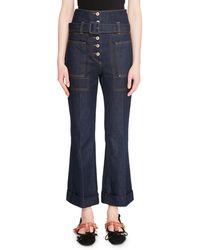 Carven Belted High-rise Flare-leg Denim Pants - Blue