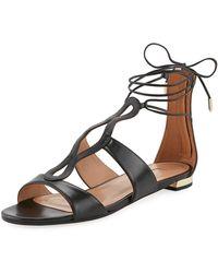Aquazzura - Flirt Tassel-trim Ankle-wrap Flat - Lyst