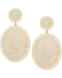 Jamie Wolf - 18k Scalloped Diamond Pave Oval Drop Earrings - Lyst