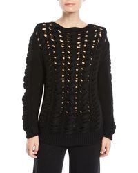 Lyst Open Knit Pullover Sweater Gentry Crewneck Portofino Cashmere WEq4RR0H7w