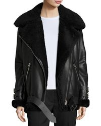 Acne Studios - Velocite Shearling Fur-lined Moto Jacket - Lyst