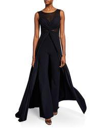 La Petite Robe Di Chiara Boni Allyette Mesh Illusion Sleeveless Jumpsuit W/ Overskirt - Black
