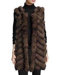 Belle Fare - Long Chevron-paneled Reversible Fur Vest - Lyst