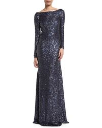 Naeem Khan - Long-sleeve Low-back Sequin Evening Gown - Lyst