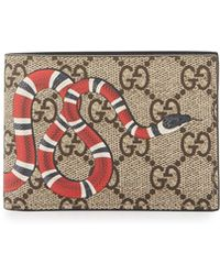 Gucci Bestiary Snake Print Gg Supreme Wallet Lyst