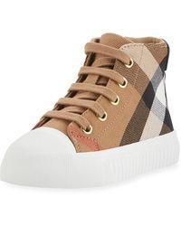 Burberry - Belford Check High-top Sneaker - Lyst