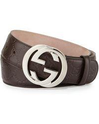 Gucci - Interlocking G-buckle Leather Belt - Lyst