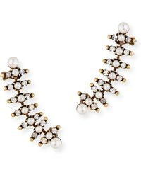 Auden - Bronson Pearly Climber Earrings - Lyst
