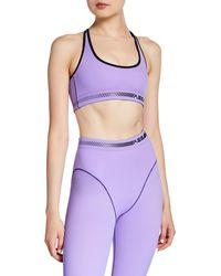 Adam Selman Sport Solid Cross-back Sports Bra - Purple