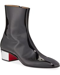 buy popular 8808e 9f3dd Men's Palace Disco Patent Red Sole Boots - Black