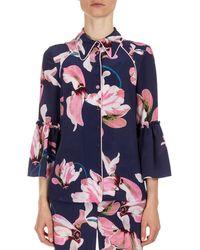 Erdem Aran Floral-print Pajama Top - Blue