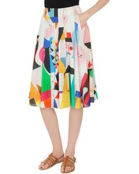 Akris - Wooden-doll Print Pleated A-line Cotton Voile Skirt - Lyst