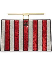 the VOLON - Chateau Sequin Striped Bar-handle Clutch Bag - Lyst