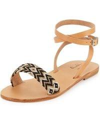 Elina Lebessi - Aliki Woven Ankle-wrap Flat Sandals - Lyst