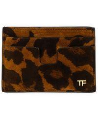 Tom Ford Men's Leopard-print Leather Card Holder - Brown
