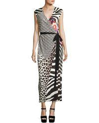 Marc Jacobs - Mixed-media Sleeveless Jersey Wrap Dress - Lyst