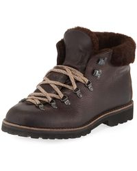524c19fe85d Fur-trim Leather Lace-up Boot - Brown