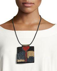 Urban Zen Leather Collage Tablet Necklace - Multicolour