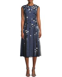 Cedric Charlier - Sleeveless Mesh-overlay A-line Silk Cocktail Dress W/ Floral Appliques - Lyst